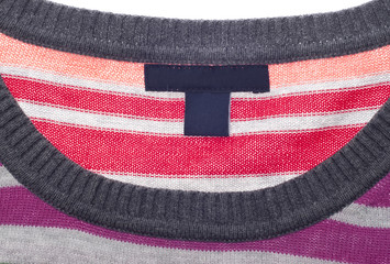 Close Up of Striped Sweater with Blank Tag