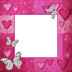 Pink  grange frame with hearts  and butterfly for design