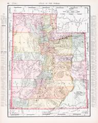 Antique Vintage Color Map of Utah, UT, United States, USA