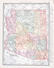 Antique Vintage Color Map of Arizona, AZ, United States, USA