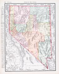 Antique Vintage Color Map of Nevada, NV, United States, USA