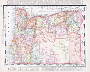 Antique Vintage Color Map of Oregon, OR, United States, USA