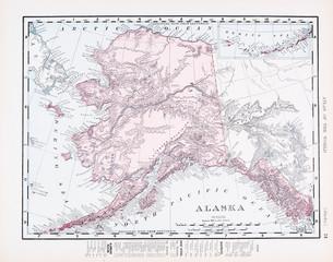 Antique Vintage Color Map of Alaska, AK, United States, USA