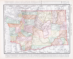 Antique Vintage Color Map of Washington State, WA, USA