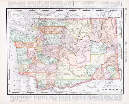 Antique Vintage Color Map of Washington State, WA, USA