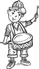 Boy wearing a cap with drum.Children.