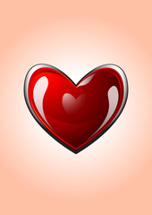 Vector glossy red heart for valentine's day illustration