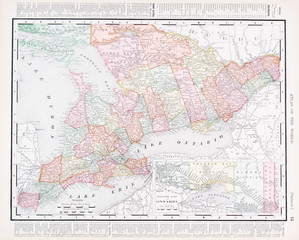 Antique Vintage Color Map of Ontario Province, ON, Canada