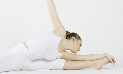 ballet dancer doing stretching