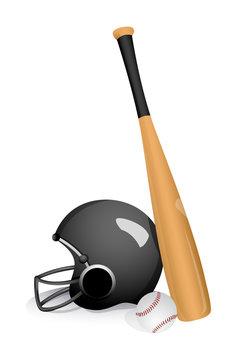 baseball bat with helmet