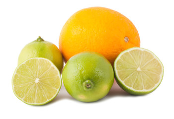 Ripe orange and lime