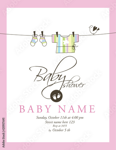 Baby Shower Card Template Stock Image And Royalty Free Vector Files