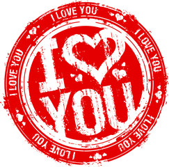 I love you vector rubber stamp.