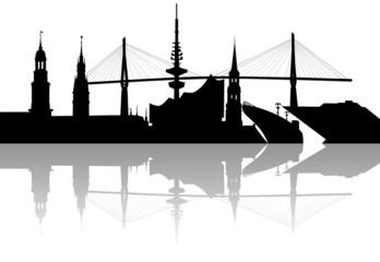 Silhouette Skyline Hamburg