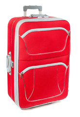 Red travel case isolated on the white