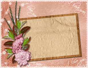 Elegant framework on the textile background with a flower bouque