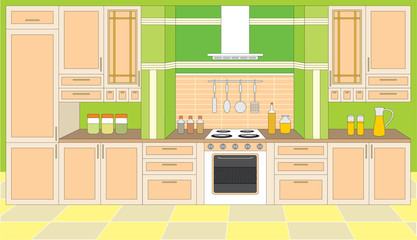 Kitchen furniture. Interior.