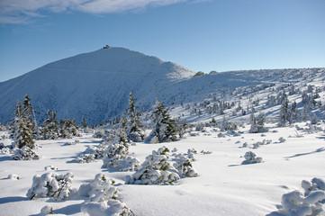 Fototapeta Sniezka mountain during the winter obraz
