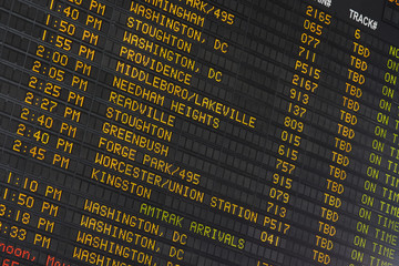 Train Departure and Arrival Display Boston Main Station