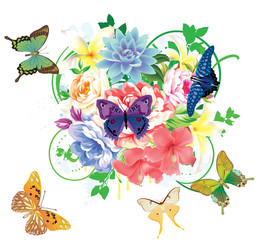 colorful floral background with butterflies