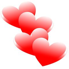 aufeinander liegende Herzen