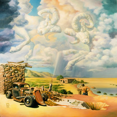 """Original artwork oil painting """"Invisible Umbrella"""""""