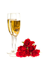 Valentine's day roses and champagne wine isolated on white
