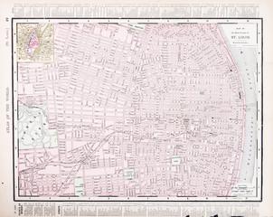 Detailed Vintage Color Street City Map, St. Louis, Missouri, USA