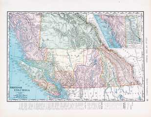 Antique Vintage Color Map of British Columbia, Canada