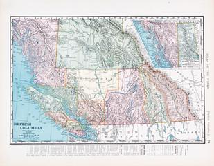 Antique Vintage Color Map of British Columbia, Canada
