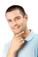 Portrait of happy smiling young man, isolated on white