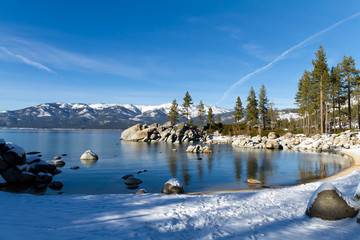 Wall Mural - Sand Harbor Beach during winter, Lake Tahoe