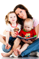 Mother reading to her children