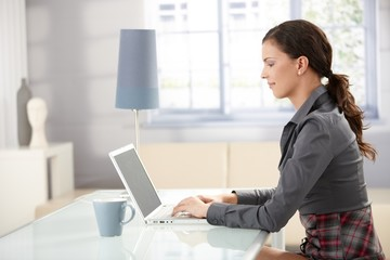 Young female using laptop at home smiling