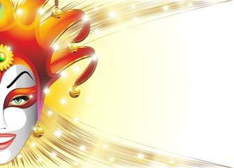 Mashera Giullare Jolly-Joker Mask Background-Vector