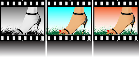 Abstract illustration. A female foot on a photo-slide