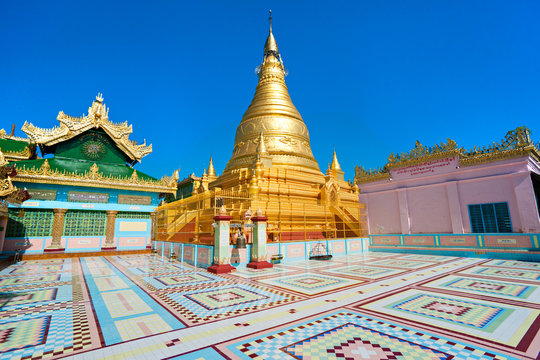Golden pagoda in sagaing hill, Mandalay, myanmar.
