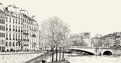 Acrylic Prints Art Studio Vector illustration of a view from Pont St Louis on Seine River