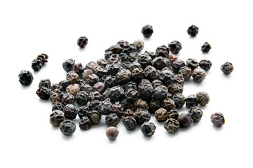 Peppercorns isolated on white