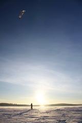 paraglider silhouette sundown blue sky background