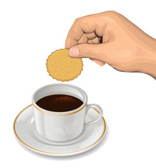Cookie in hand above a coffee cup
