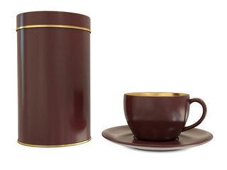 Brown cup with blank brown box