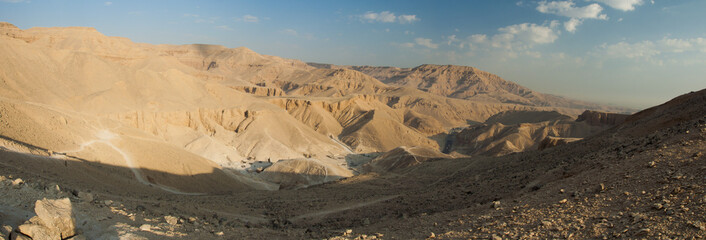 Panorama of the Valley of Kings. Luxor, Egypt