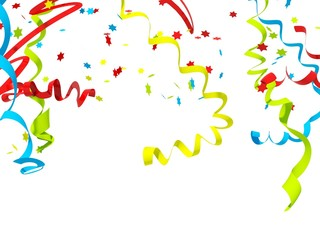 Falling confetti isolated on white