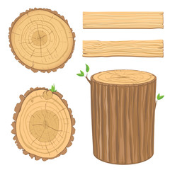 set of wooden materials - cross section of tree trunk, isolated
