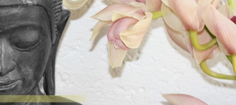 Boudha sur fond blanc et fleur