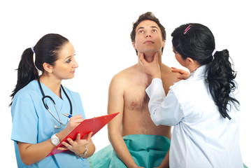 Physician woman examine neck male patient