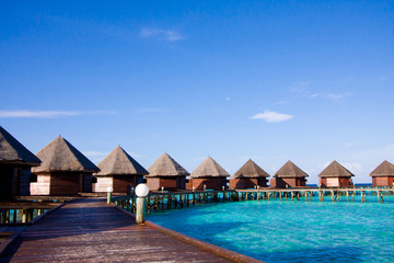 Water bungalows on the tropical island
