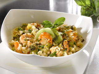 risotto au kiwi et aux crevettes - risotto with prawns and kiwi