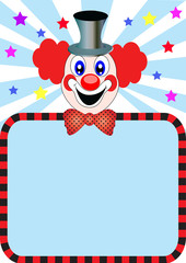 merry clown with paper
